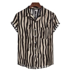Men Striped Cotton Linen Breathable Loose Short Sleeve Shirt Black,XXL