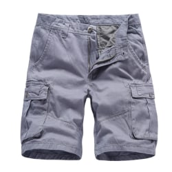 Men Workwear Sports Shorts Casual Cotton Summer Breathable Jeans Gray,36