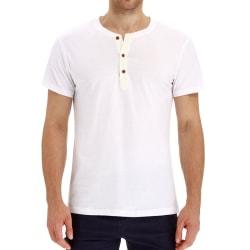 Mens Short Sleeve T-Shirt Plain Crew Neck Buttons Casual Tops White,M