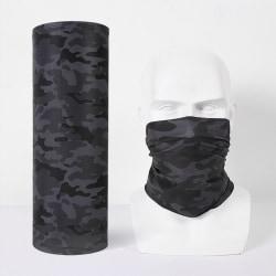Multi-use Camouflage Sun Mask Tube Scarf Neck Gaiter Headwear Dark Grey Camouflage