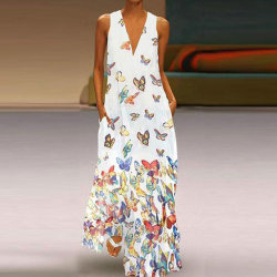 Plue Size Dam Bohemisk klänning Ärmlös tryckt maxiklänning White,XL