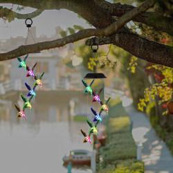 Solar Wind Chimes LED hängande utomhus trädgård lampor dekor Transparent Hummingbird