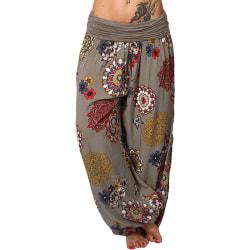 Super Value-Dam-Byxor & Yoga & Byxor-Baggy Harem Leggings & Boho Khaki,L
