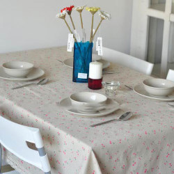 Tablecloth Cotton Linen Lace Square Rectangle Dining Table Cover Cherry 140x180cm