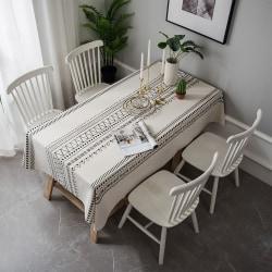 Tablecloth Geometric Cotton Linen Square Rectangle Dining Desk Black 140x200cm