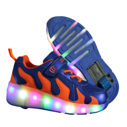 Unisex Kids Fashion Single Wheel Sneaker LED Lights Skate Shoes blue,32
