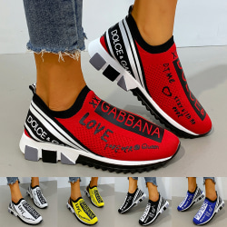 Unisex Letters Printed Sock Shoes Sneakers Trainers Casual Shoes Black,35
