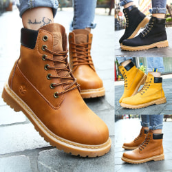 Unisex Mid Calf Boots Chunky Heels Ankle Boots Round Toe Lace Up Yellow,41
