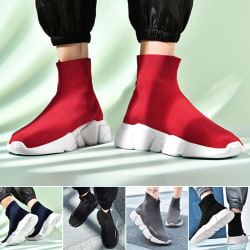 Unisex Sock Sneakers High Top Athletic Running Casual Shoes Red,47