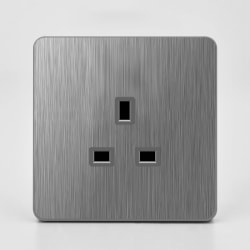 Wall Electric Fashion Sockets Brushed Grey Switches & Sockets 13A Socket