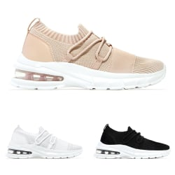 Women Air Cushion Outdoor Sneaker Athletic Running Lace Up Shoes Apricot,42