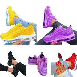 Women Air Cushion Sneakers Athletic Sport Running Lace Up Shoes Black,39