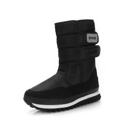 Women and Men Waterproof Plush Lined Winter Snow Casual Booties Black,42