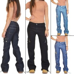 Women Bell-bottom Denim Jeans Flared Trousers Wide Leg Pants Black Blue,M