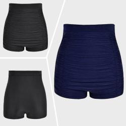 Women Bikini Bottoms High Waist Swim Briefs Beach Stretch Shorts Dark Blue,L