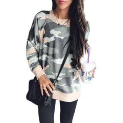 Women Camouflage Long Sleeve Pullover Sweatshirt Casual Loose Khaki,S