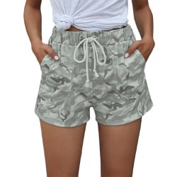 Women Casual Camouflage Hot Pants Running Yoga Shorts Drawstring Gray,L