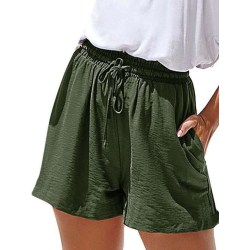Women Casual Fashion Wide Leg Summer Shorts Pocket Hot Pants Green,XL