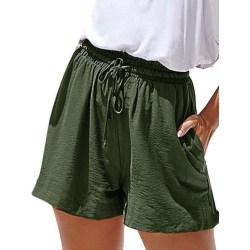 Women Casual Fashion Wide Leg Summer Shorts Pocket Hot Pants Green,XL