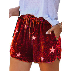 Women Casual Linen Stars Print Wide Leg Shorts Pockets Hot Pants Red,M