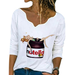 Women Casual Loose V-neck Printed Long Sleeve T-Shirt Top White Nutella,S