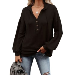 Women Casual Solid Color Hooded Pullover Sweatshirt Ladies Top black,L