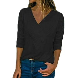 Women Casual Solid Color Long Sleeve V-Neck T-Shirt Top Pullover Black,S