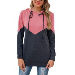 Women casual stitching hooded cardigan jacket long sleeve shirt Pink,M