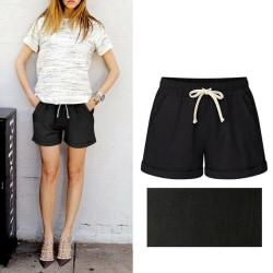 Women Elastic Waist Drawstring Loose Beach Shorts Hot Pants Black,XL