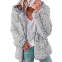 Women fluffy hoodie ladies fleece zipper hoodie jacket top light grey,XXL