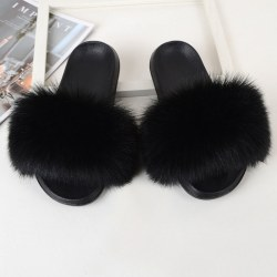 Women Fox Fur Slides Furry Slippers Slip On Sandals Casual Shoes Black,38-39