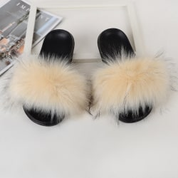 Women Girls Fur Furry Slippers Open Toe Parent-child Sandals Beige,33.5