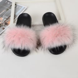 Women Girls Fur Furry Slippers Open Toe Parent-child Sandals Light Pink,27