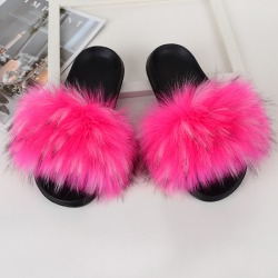 Women Girls Fur Furry Slippers Open Toe Parent-child Sandals Rose Pink,26.5