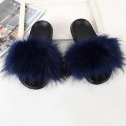 Women Girls Fur Furry Slippers Open Toe Parent-child Sandals Royal Blue,31