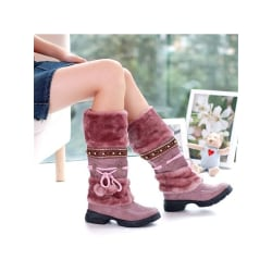 Women Girls Winter Warm Mid Calf Snow Boots Fur Lined Lace Up Purple,42