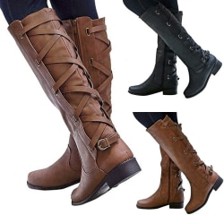 Women High Boots Low heel Slip On Round Toe Booties Side Zipper Black,42