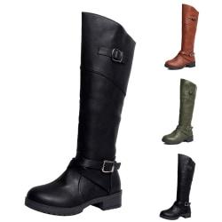 Women High Boots Square Heel Round Toe Flat Booties Side Zipper Black,41