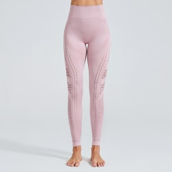 Women High Waist Yoga Pants Hollow Sports Leggings Trousers Light Pink,S
