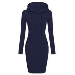 Women Hooded Sweatshirt Long Sleeve Sweater Hoodie Midi Dress Dark blue,M
