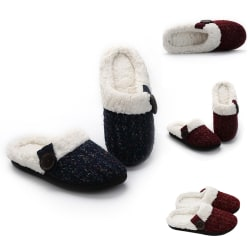Women Knitted Slippers Slides Warm Floor Indoor Anti-Slip Shoes Dark Red,38/39