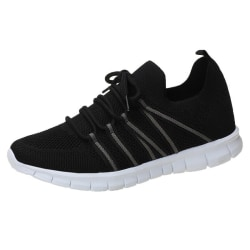 Women Lace up Sneaker Breathable Flying Woven Mesh Casual Shoes Black,39