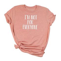 Kvinnor brev tryck topp kortärmad casual t-shirt skjorta pink,M