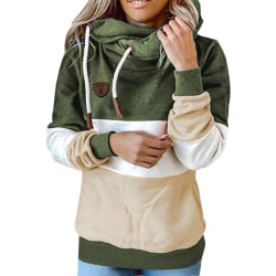 Women Long Sleeve Stitching Hooded Sweatshirt Ladies T-shirt Top ArmyGreen,M