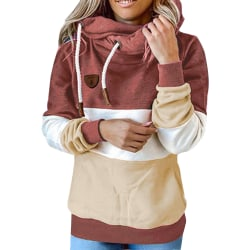 Women Long Sleeve Stitching Hooded Sweatshirt Ladies T-shirt Top Brick red,S