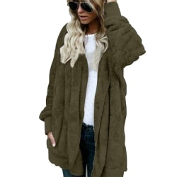 Women loose stitching hooded double-sided velvet jacket cardigan ArmyGreen,4XL