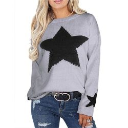 Women pullover knitted oversized winter pullover jacket Gray,M
