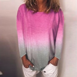 Women Rainbow Gradient Printed Long Sleeve Top Pullover T-shirt rose Red,XL