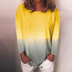 Women Rainbow Gradient Printed Long Sleeve Top Pullover T-shirt Yellow,M