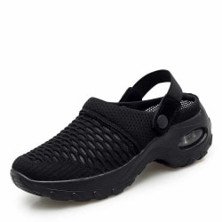 Women's Air Cushion Sandals Sneakers Breathable Mesh Slippers Black,35